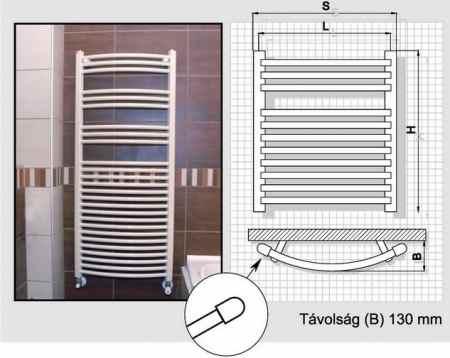 Radeco fűrdőszobai csőradiátor AD5-400/L