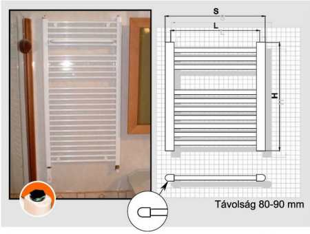 Radeco fűrdőszobai csőradiátor AD1-500/P